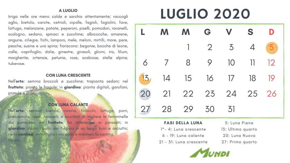 Calendario 31 Luglio 2019.Calendario Lunare 2019